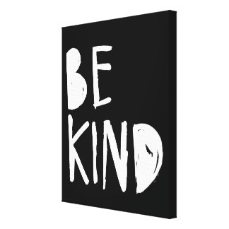 Be Kind | White Brush Script Style Stretched Canvas Print
