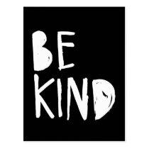 Be Kind   White Brush Script Style Postcard