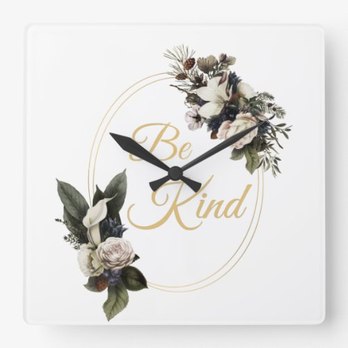 Be Kind Women's Inspirational Elegant Christian Square Wall Clock