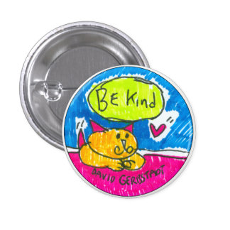 Be Kind yellow cat with heart Pinback Button