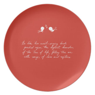 Be Like Two Sweet-Singing Birds [Red] Party Plate