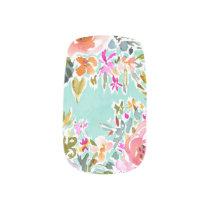 BE LOVE Aqua Colorful Floral Minx Nail Art