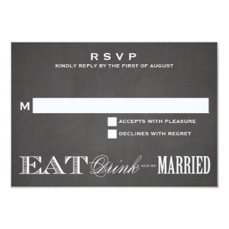BE MARRIED CHALKBOARD   RSVP 3.5 x 5 Announcement