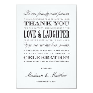 "Be Married | Reception Thank You Cards 5"" X 7"" Invitation Card"
