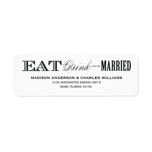 & BE MARRIED | RETURN ADDRESS LABELS