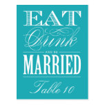 & BE MARRIED | TABLE NUMBER POST CARD