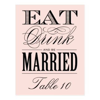 & BE MARRIED | TABLE NUMBER POSTCARD