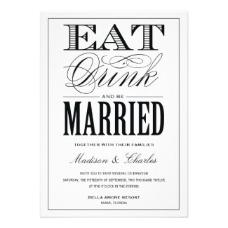 Eat Drink and Be Married Wedding Collection invitations