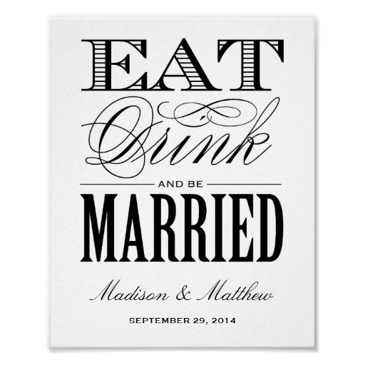 Be Married Wedding Reception Sign Poster