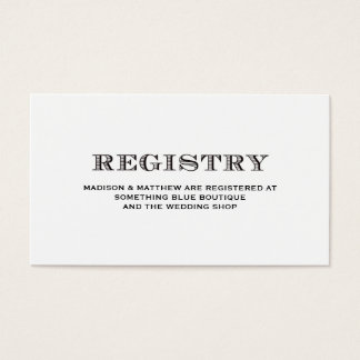 Be Married | Wedding Registry Card