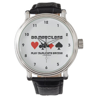 Be Merciless Play Duplicate Bridge (Card Suits) Wrist Watches