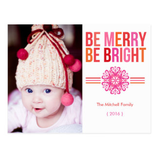 BE MERRY BE BRIGHT Photo Holiday Postcard