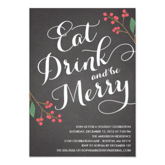 """BE MERRY BERRIES   HOLIDAY PARTY INVITATION 5"""" X 7"""" INVITATION CARD"""