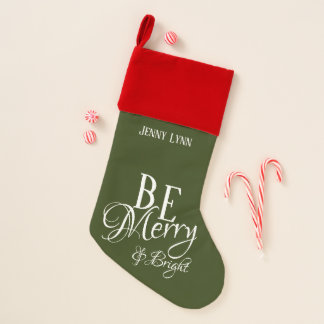 Be Merry & Bright Green with Child or Pet's Name - Christmas Stocking