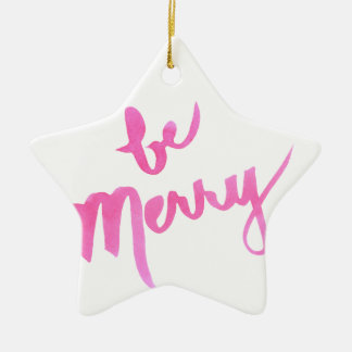 Be Merry (& Bright Pink!) Hand Lettered Ceramic Ornament