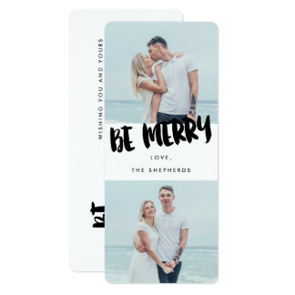 Be Merry Brush Script Holiday Photo Card