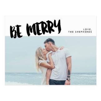 Be Merry Brush Script Holiday Photo Postcard