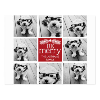 Be Merry Christmas Collage Photos with Red White Postcard