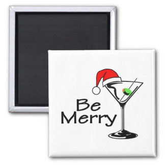 Be Merry Christmas Martini 2 Inch Square Magnet