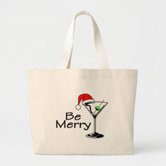 Be Merry Christmas Martini Canvas Bags