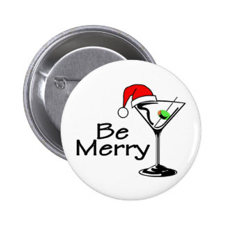 Be Merry Christmas Martini 2 Inch Round Button