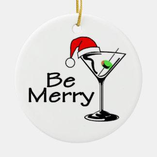 Be Merry Christmas Martini Ceramic Ornament