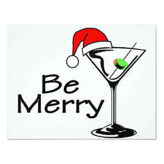 Be Merry Christmas Martini 4.25x5.5 Paper Invitation Card