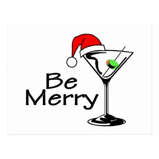 Be Merry Christmas Martini Postcard