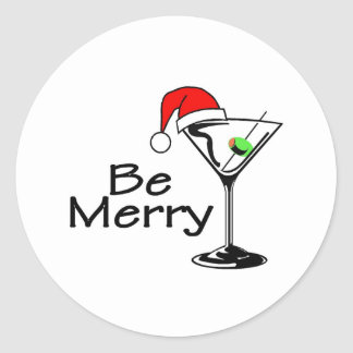 Be Merry Christmas Martini Classic Round Sticker