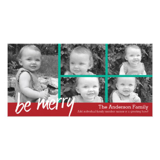 Be Merry Christmas with 5 photo collage Photo Card