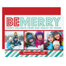 Be Merry Family Photo Collage Holiday Card