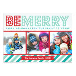 Be Merry Family Photo Collage Holiday Card at Zazzle