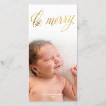 Be Merry Faux Foil Gold Script | Holiday