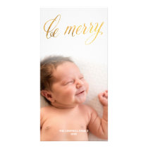 Be Merry Faux Foil Gold Script | Holiday Card
