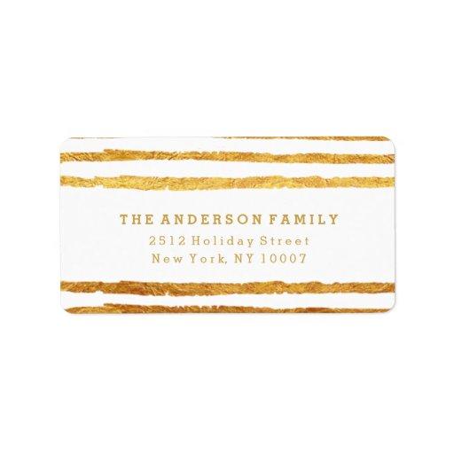 Be merry gold stripes address label