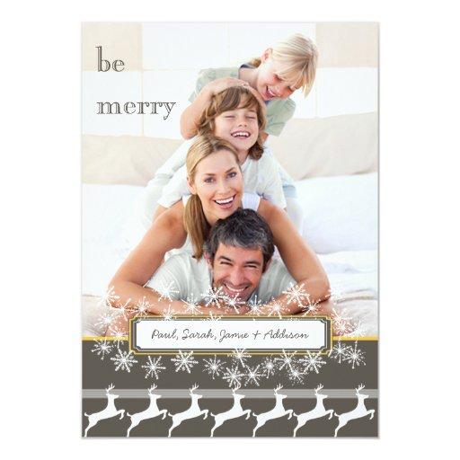 Be Merry Gray Yellow Family Photo Holiday Reindeer Card