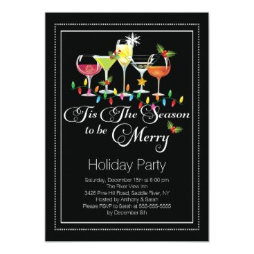 Christmas Themed Be Merry Holiday Cocktail Party Invitation