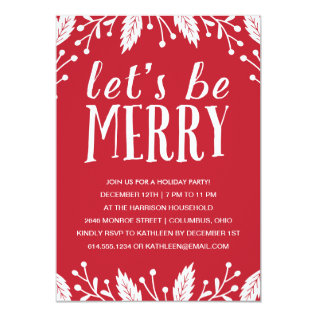 Be Merry | Holiday Party Invitation at Zazzle