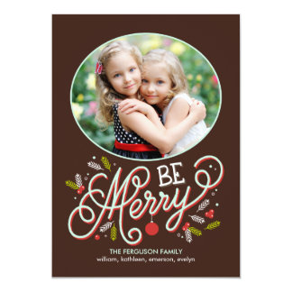 Be Merry Holiday Photo Cards Custom Announcements