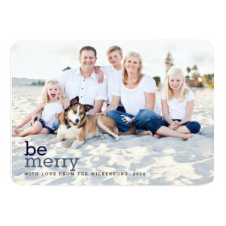 Be Merry in Blue Christmas Two Photo Card Personalized Announcement