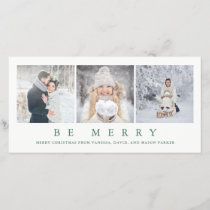 Be Merry | Modern Green Christmas Three Photos Holiday Card