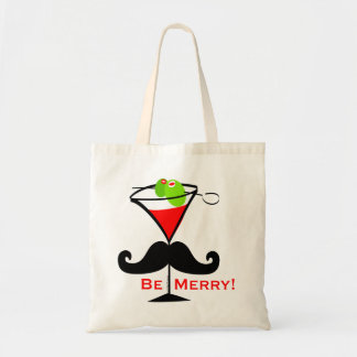 Be Merry Mustache Budget Tote Bag