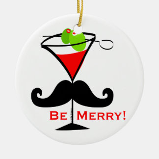 Be Merry Mustache Ceramic Ornament