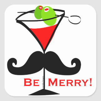 Be Merry Mustache Square Sticker
