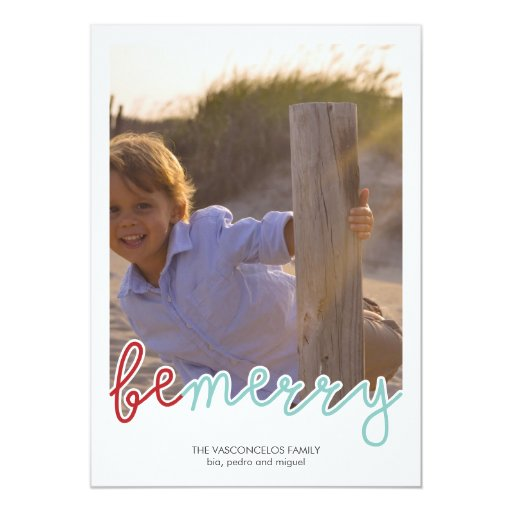 Be Merry Photo Christmas Holiday Wishes Red Blue 5x7 Paper Invitation Card