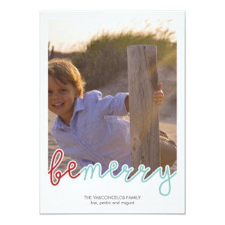 Be Merry Photo Christmas Holiday Wishes Red Blue Card
