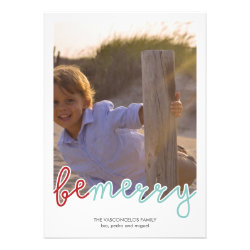 Be Merry Photo Christmas Holiday Wishes Red Blue Announcement