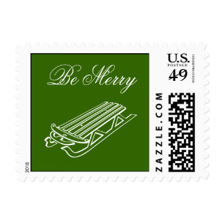 Be Merry Postage Stamp