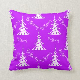 Be Merry Purple Christmas Throw Pillow