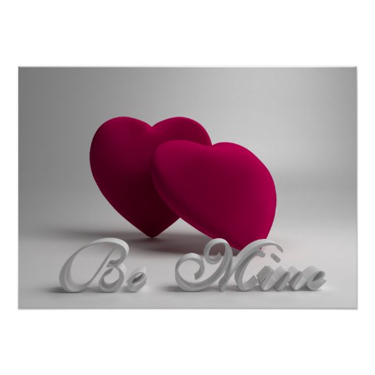 Be Mine 3D Hearts Valentine Poster 28x20